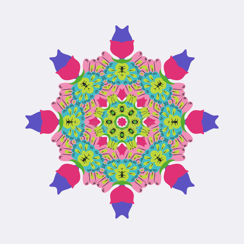 Ljusa färger för vektorrundaprydnad stock illustrationer