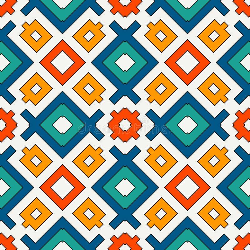 ljusa färger mönsan seamless Etniskt och stam- motiv Upprepade geometriska former Färgrik dekorativ bakgrund vektor illustrationer
