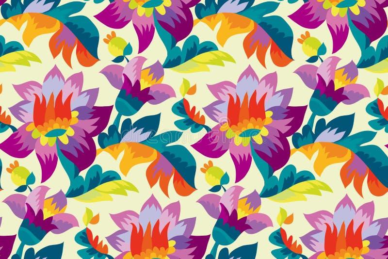 Ljusa färgfolk utformar den blom- sömlösa modellen stock illustrationer