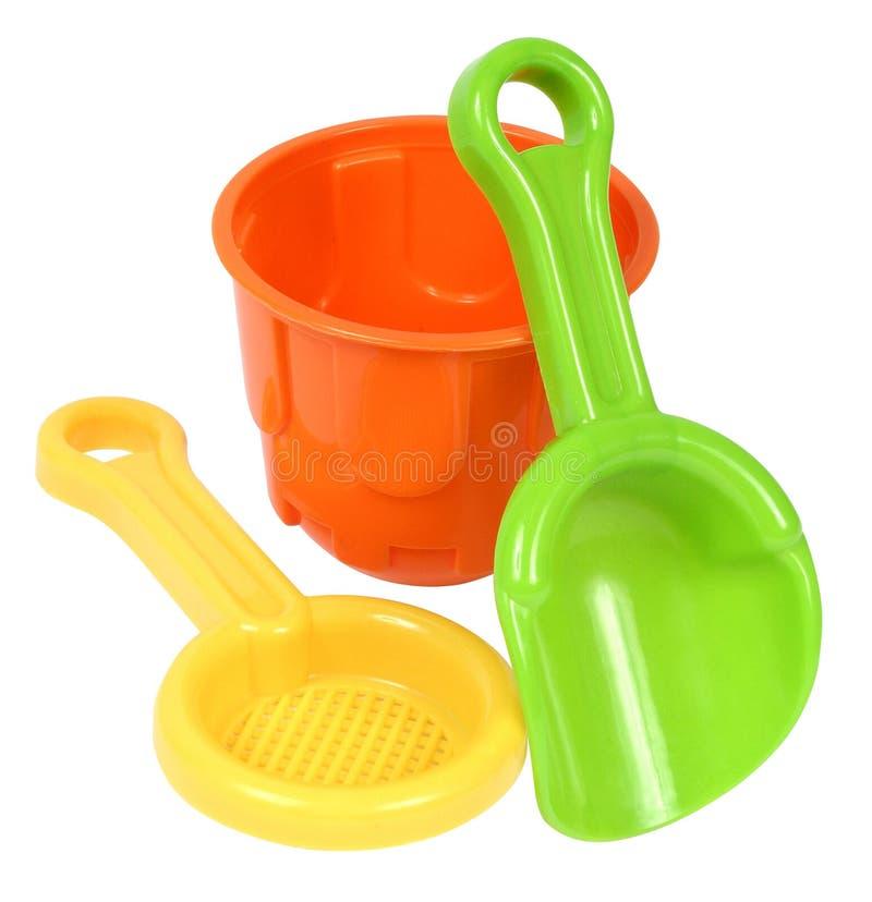 ljusa färgglada plastic toys för strand royaltyfria bilder