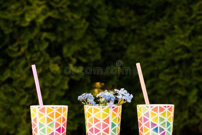 Ljusa färgrika exponeringsglas, disk för en picknick, sommarexponeringsglas kopiera avst?nd fotografering för bildbyråer