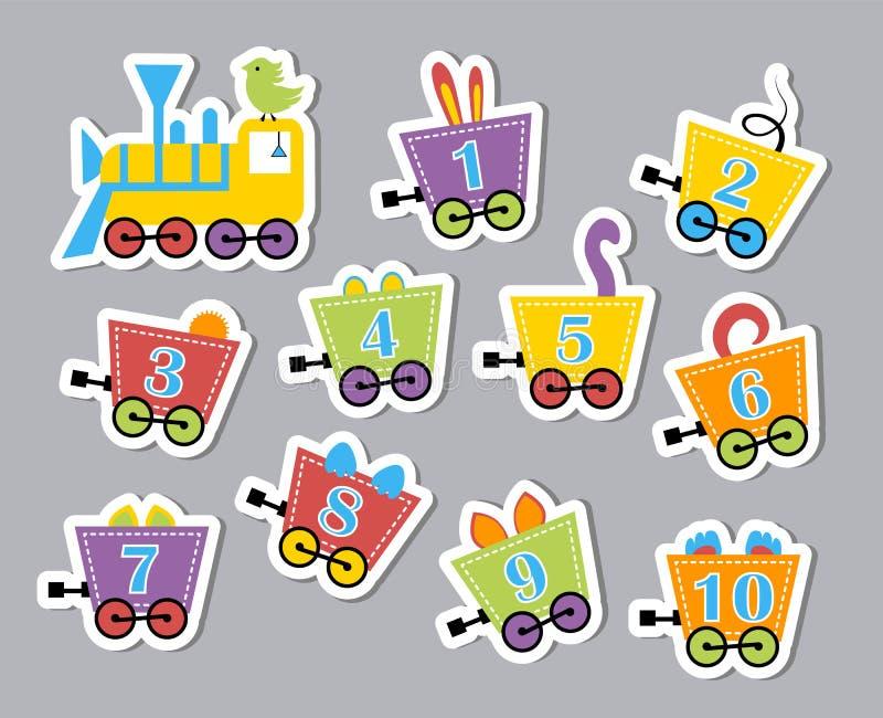 Ljusa färgrika nummer Utvecklings- klistermärkear för barn Vektorillustration av husvagnar med fän stock illustrationer