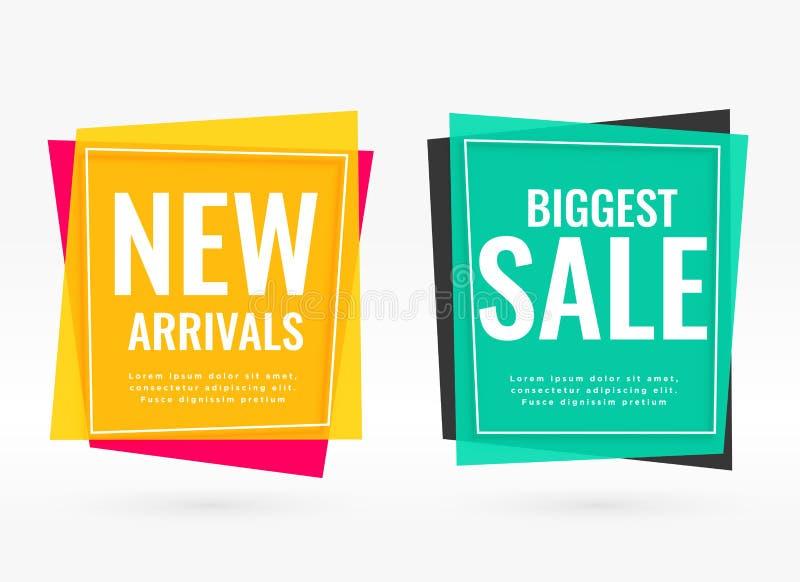 Ljusa försäljningsbaner med textutrymme stock illustrationer