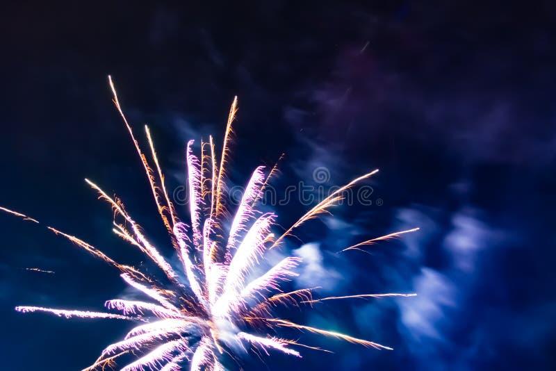 Ljusa festliga fyrverkerier mot bakgrunden av natthimlen royaltyfri foto