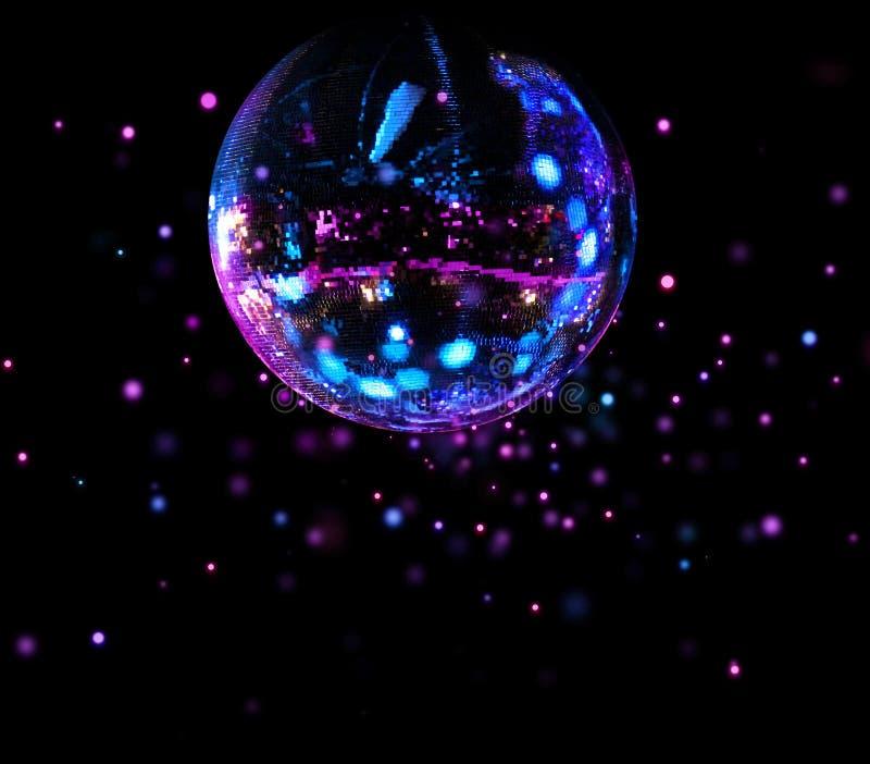 Ljusa fläckar för färgrik diskospegelboll fotografering för bildbyråer