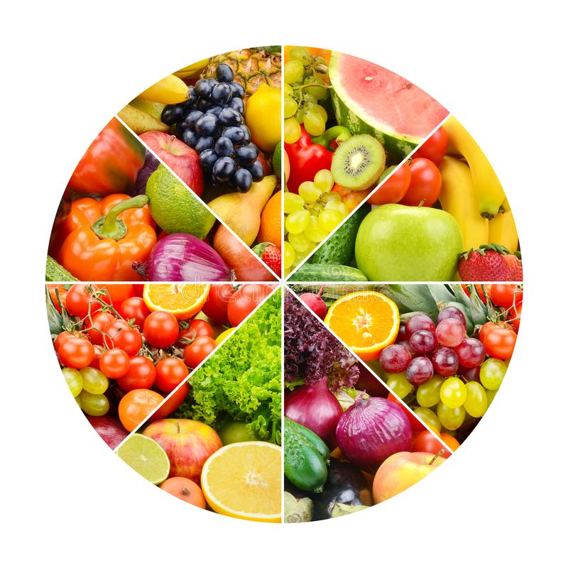 Ljusa frukter och grönsaker i rund ram på vit royaltyfria bilder