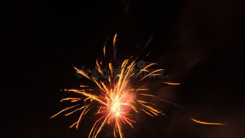 Ljusa fyrverkerier mot en natthimmel royaltyfri foto