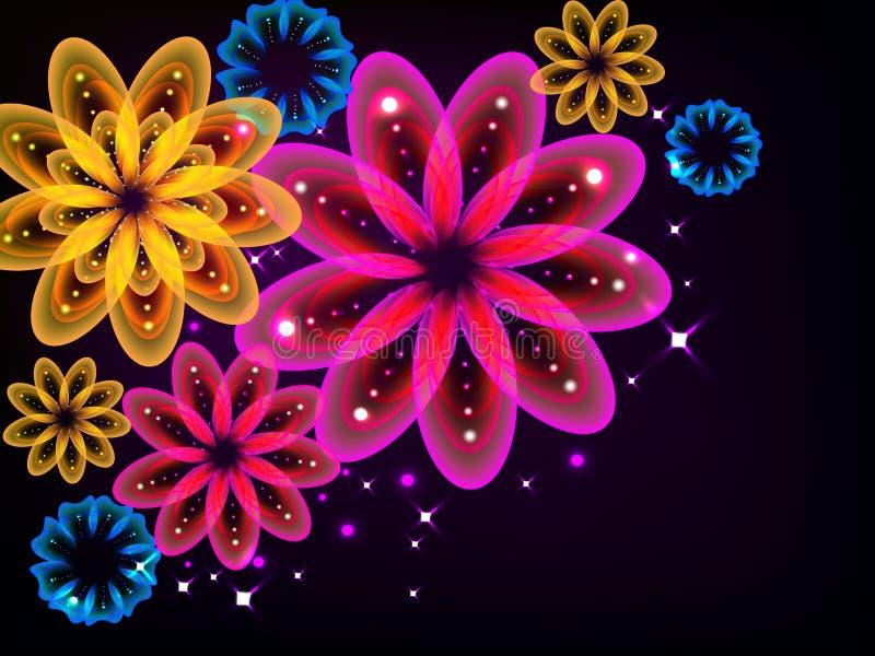 Ljusa glödande blommor royaltyfri illustrationer