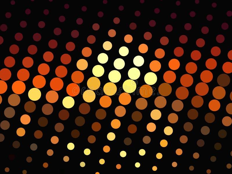 Ljusa glödande cirklar på mörk bakgrund Rastrerad effekt abstrakt geometrisk modell Scalable vektordiagram vektor illustrationer