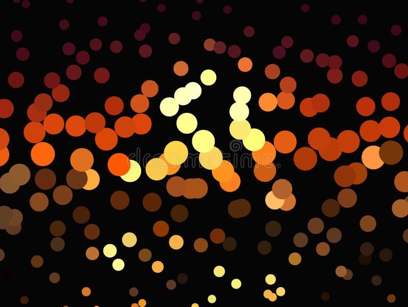 Ljusa glödande cirklar på mörk bakgrund Rastrerad effekt abstrakt geometrisk modell Scalable vektordiagram royaltyfri illustrationer