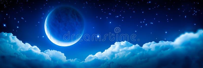 Ljusa glödande Crescent Moon stock illustrationer