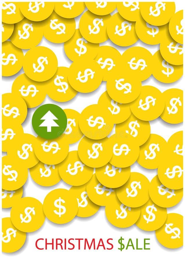 Ljusa guld- mynt och en gräsplan royaltyfri illustrationer