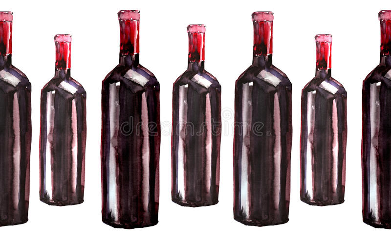 Ljusa härliga abstrakta grafiska älskvärda underbara gulliga läckra smakliga smaskiga sommarflaskor av rött vin mönstrar vattenfä royaltyfri bild