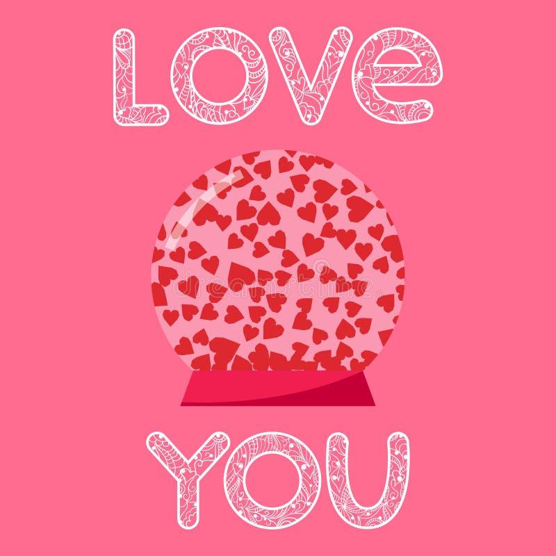 Ljusa hjärtor i förälskelseordet för glass boll och hand-teckning för bruk i designen för valentindag- eller bröllophälsningkort stock illustrationer
