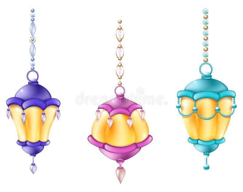 Ljusa julsmycken för festlig ficklampa med röda för pärlor och för leksaker blåa och purpurfärgade ljus stock illustrationer