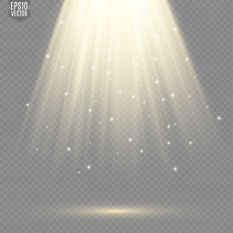 Ljusa källor, konsertbelysning, strålkastare Konsertstrålkastare med strålen, upplysta strålkastare vektor illustrationer