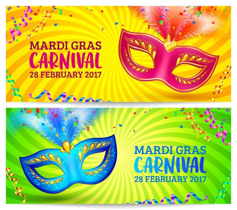 Ljusa karnevalmaskeringar på mallar för guling- och gräsplanMardi Grass baner vektor illustrationer