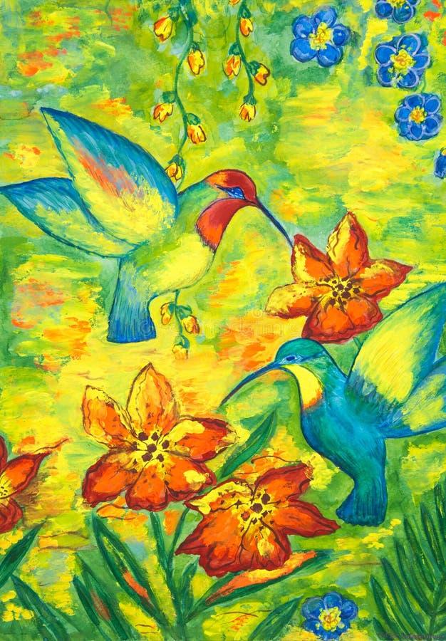 Ljusa kolibrifåglar på bakgrunden av blommor och den guld- ängen royaltyfri foto