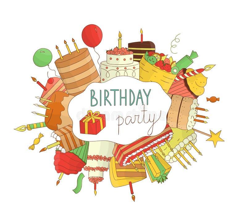 Ljusa kulöra födelsedagbeståndsdelar stock illustrationer