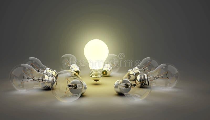 ljusa kulor för idé 3d, en leda ljus kula medan annat unlit ligga på jordning, djup av fältet vektor illustrationer