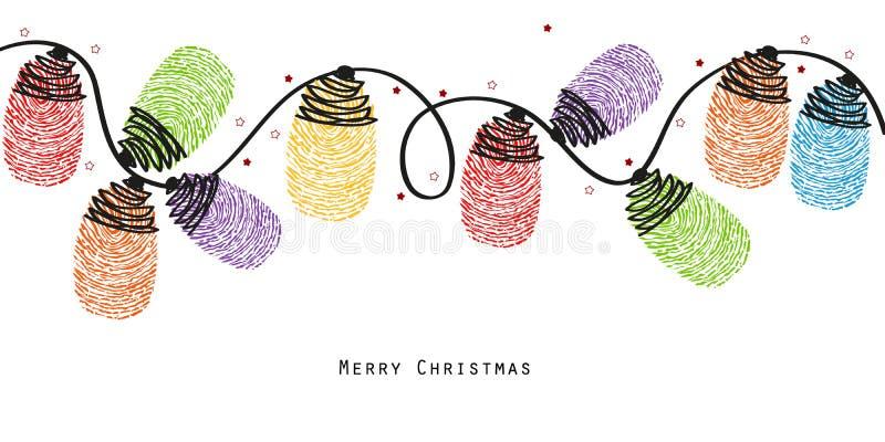 Ljusa kulor för jul med färgrik fingeravtryckvektorbakgrund stock illustrationer