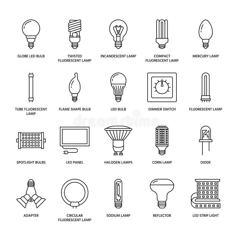 Ljusa kulor sänker linjen symboler Ledd lamptyper, fluorescerande, glödtråd, halogen, diod och annan belysning Tunt linjärt stock illustrationer