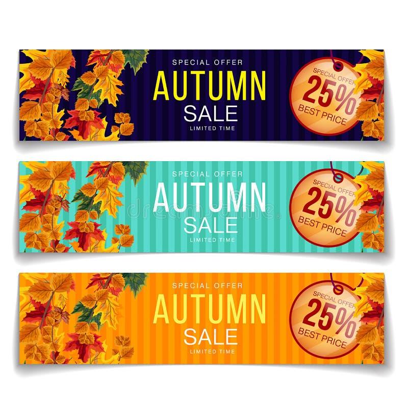 Ljusa kuponger för höstlig försäljningsbefordran stock illustrationer