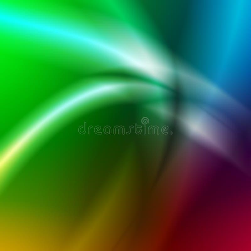 ljusa linjer för abstrakt bakgrund över regnbågen vektor illustrationer