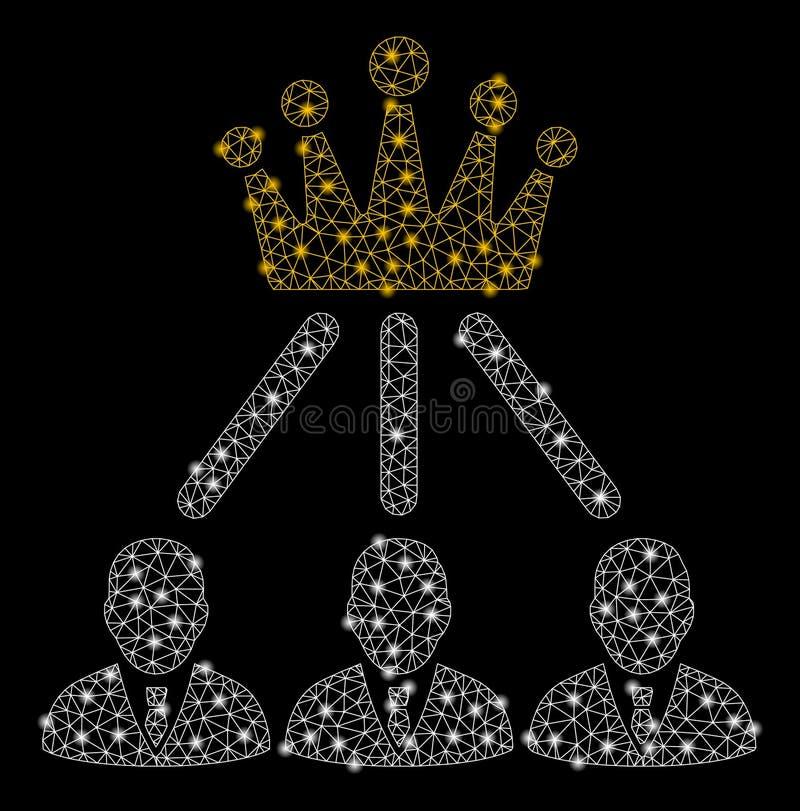 Ljusa Mesh Network Administration Crown med ljusa fläckar stock illustrationer