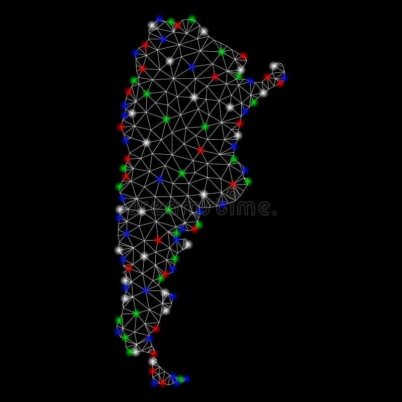 Ljusa Mesh Network Argentina Map med signalljusfläckar stock illustrationer