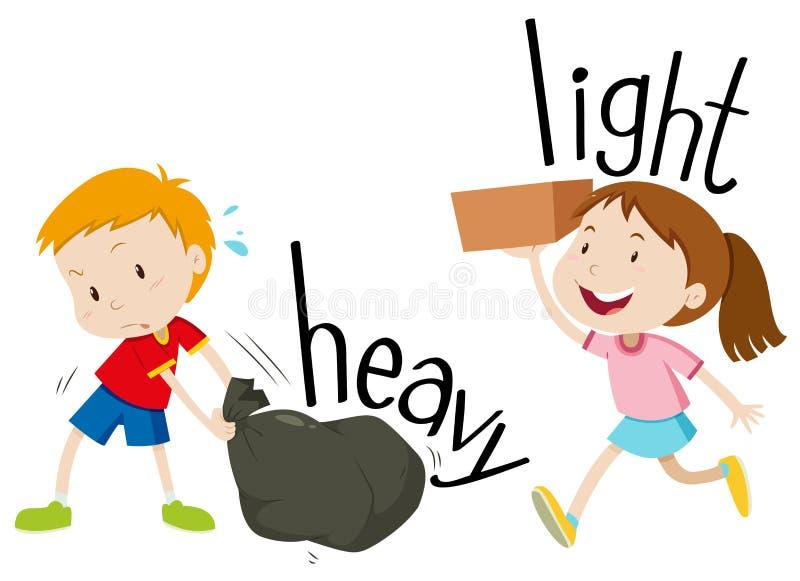 Ljusa motsatta adjektiv som är tunga och vektor illustrationer