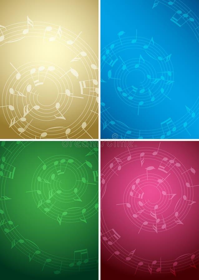 Ljusa musikbakgrunder med anmärkningar - färguppsättning royaltyfri illustrationer