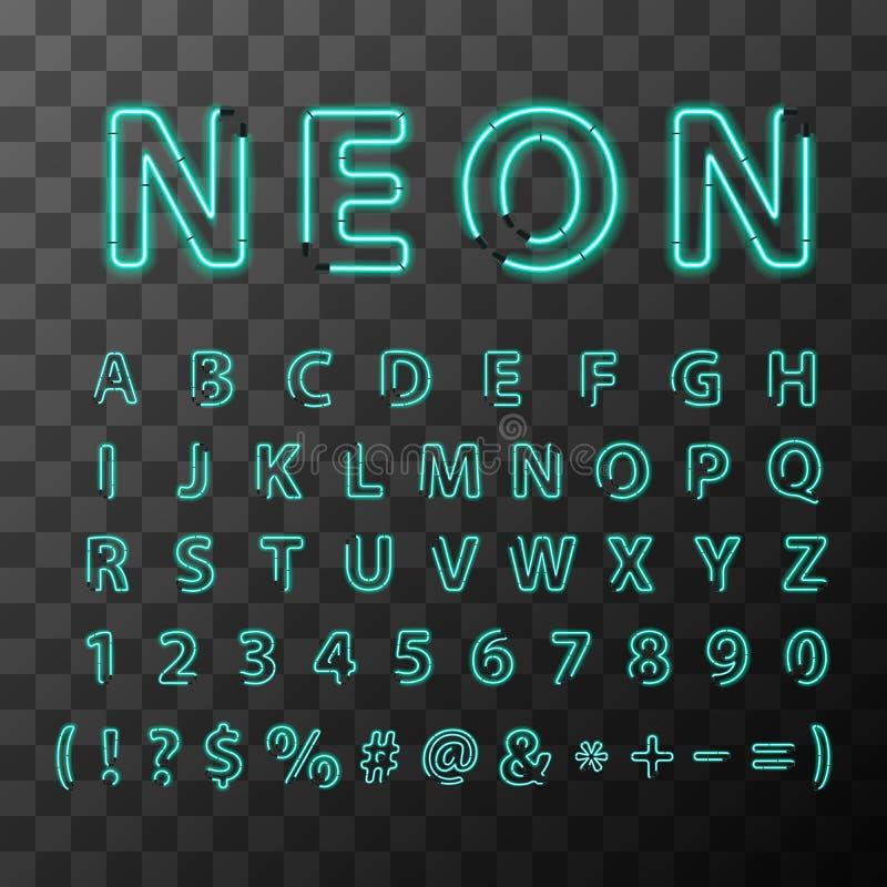 Ljusa neonbokstäver, fullt latinskt alfabet på genomskinlig bakgrund royaltyfri illustrationer