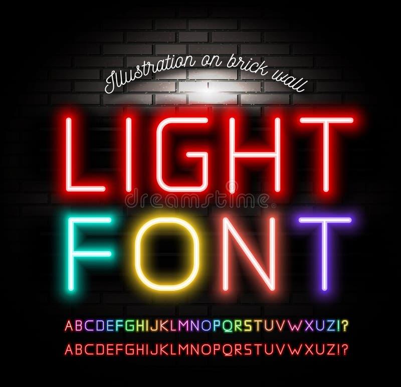 Ljusa neonstilsorter på bakgrund för tegelstenvägg vektor royaltyfri illustrationer
