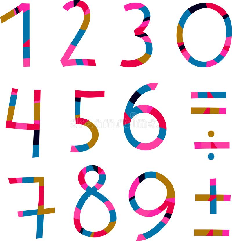 Ljusa nummer från 1 till 10 och matematiskt tecken stock illustrationer