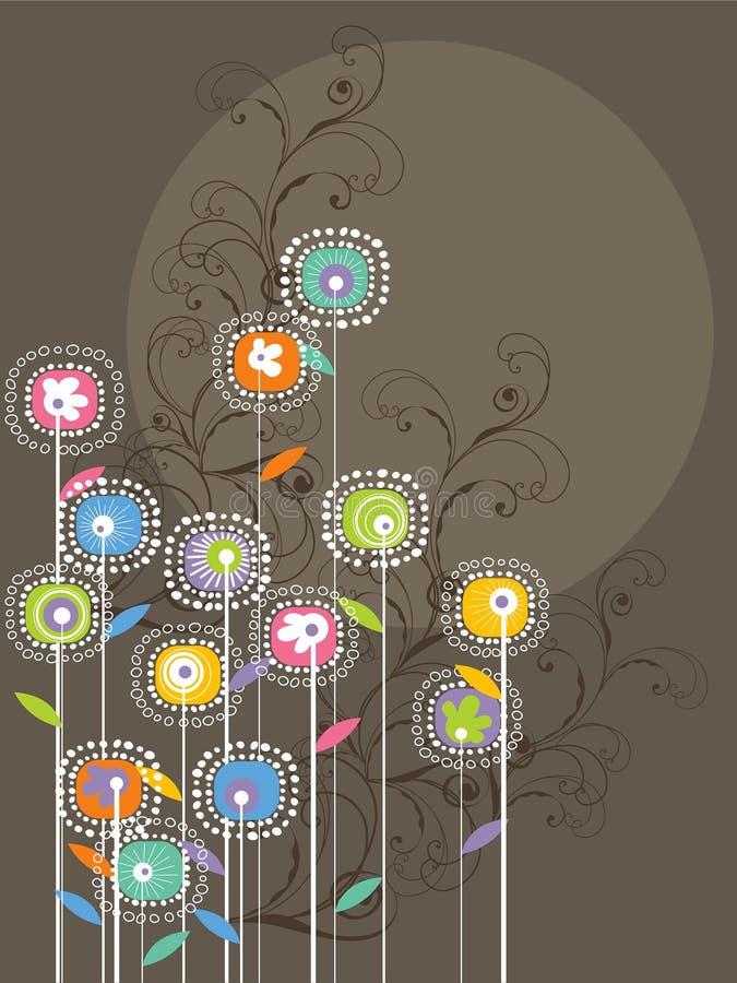 ljusa nyckfulla blommaswirls stock illustrationer