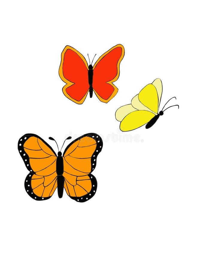 ljusa 3 och härliga fjärilar royaltyfria foton