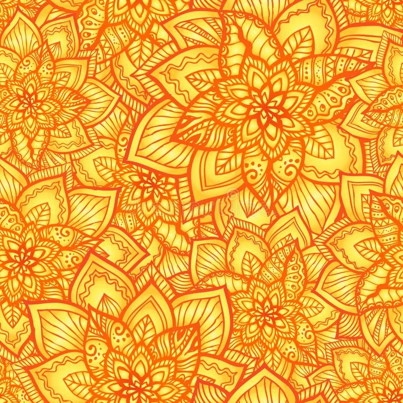 Ljusa orange blom- seamless mönstrar stock illustrationer