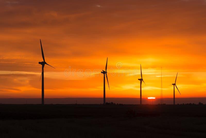 Ljusa orange turbiner för vind för soluppgångsignalmaximum Washington Green arkivbilder