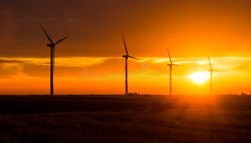 Ljusa orange turbiner för vind för soluppgångsignalmaximum Washington Green arkivbild