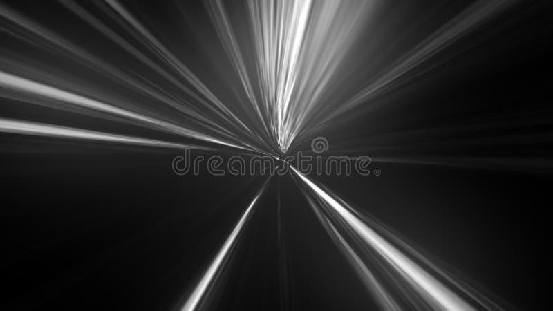 Ljusa partiklar i zoomeffekt Radiell effekt för rörelsesuddighet royaltyfri illustrationer