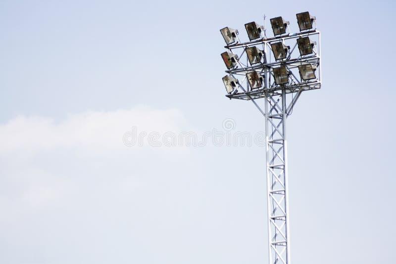Ljusa poler för stadion royaltyfri foto