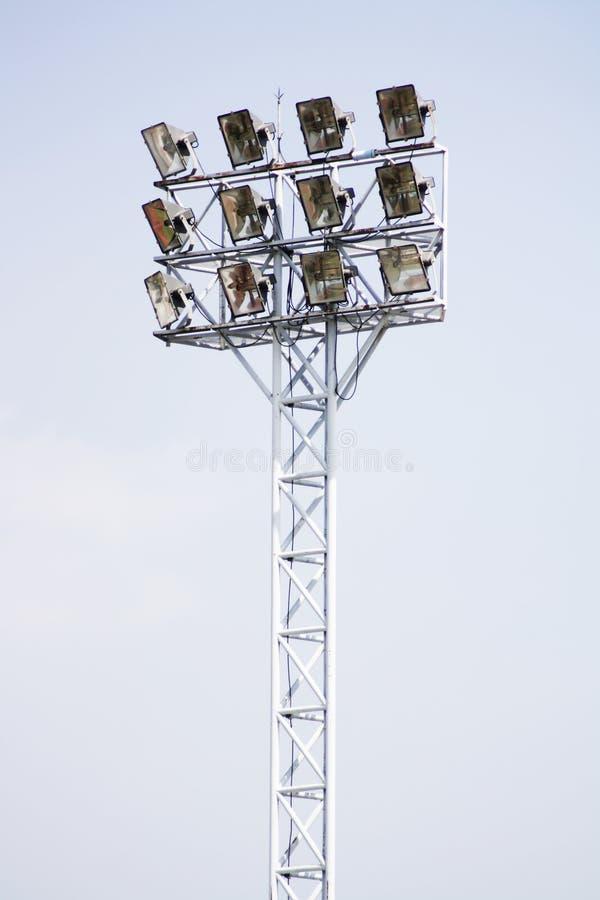 Ljusa poler för stadion arkivbild