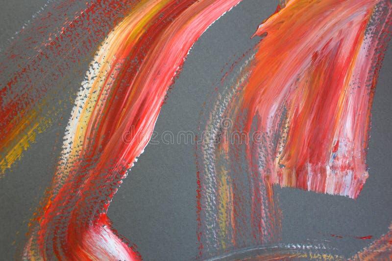 Ljusa röda borsteslaglängder på kanfas abstrakt konstbakgrund F?rgtextur Fragment av konstverk abstrakt kanfasm?lning royaltyfria bilder