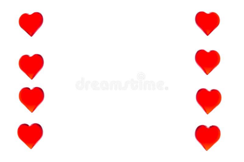 Ljusa röda hjärtor i form av två kolonner på varje sida För att att använda dag för valentin` s bröllop, internationell dag för k stock illustrationer