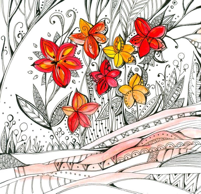 Ljusa röda och gula blommor och svart linjär prydnad med naturliga motiv Utdragen bild för dekorativ hand royaltyfri foto