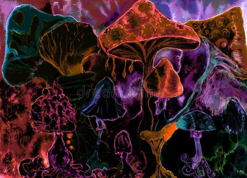 Ljusa röda psykedeliska champinjoner stock illustrationer