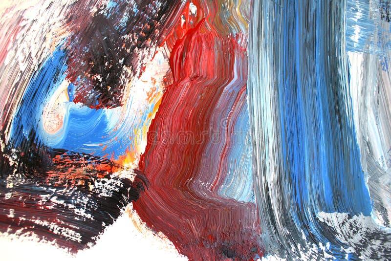 Ljusa slaglängder på kanfas abstrakt konstbakgrund Färgtextur Fragment av konstverk abstrakt kanfasmålning royaltyfri illustrationer