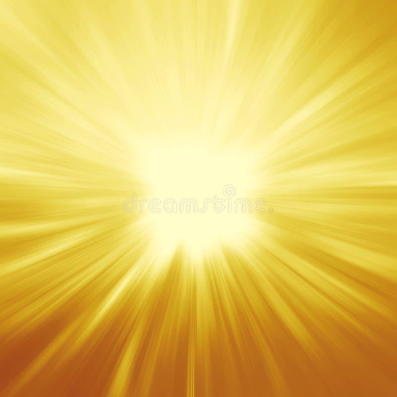 Ljusa solstrålar, skinande sommarbakgrund med vibrerande guling & nolla vektor illustrationer