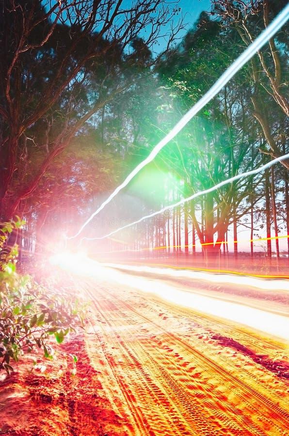 Ljusa spår för bil som igenom passerar på en unpaved lantgårdväg s arkivfoto